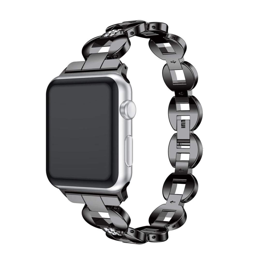 Unpara Jewelry Bracelet for Apple Watch Series 3 Exquisite Luxury Alloy Crystal Link Bracelet Watch Band Strap (A, 42MM)