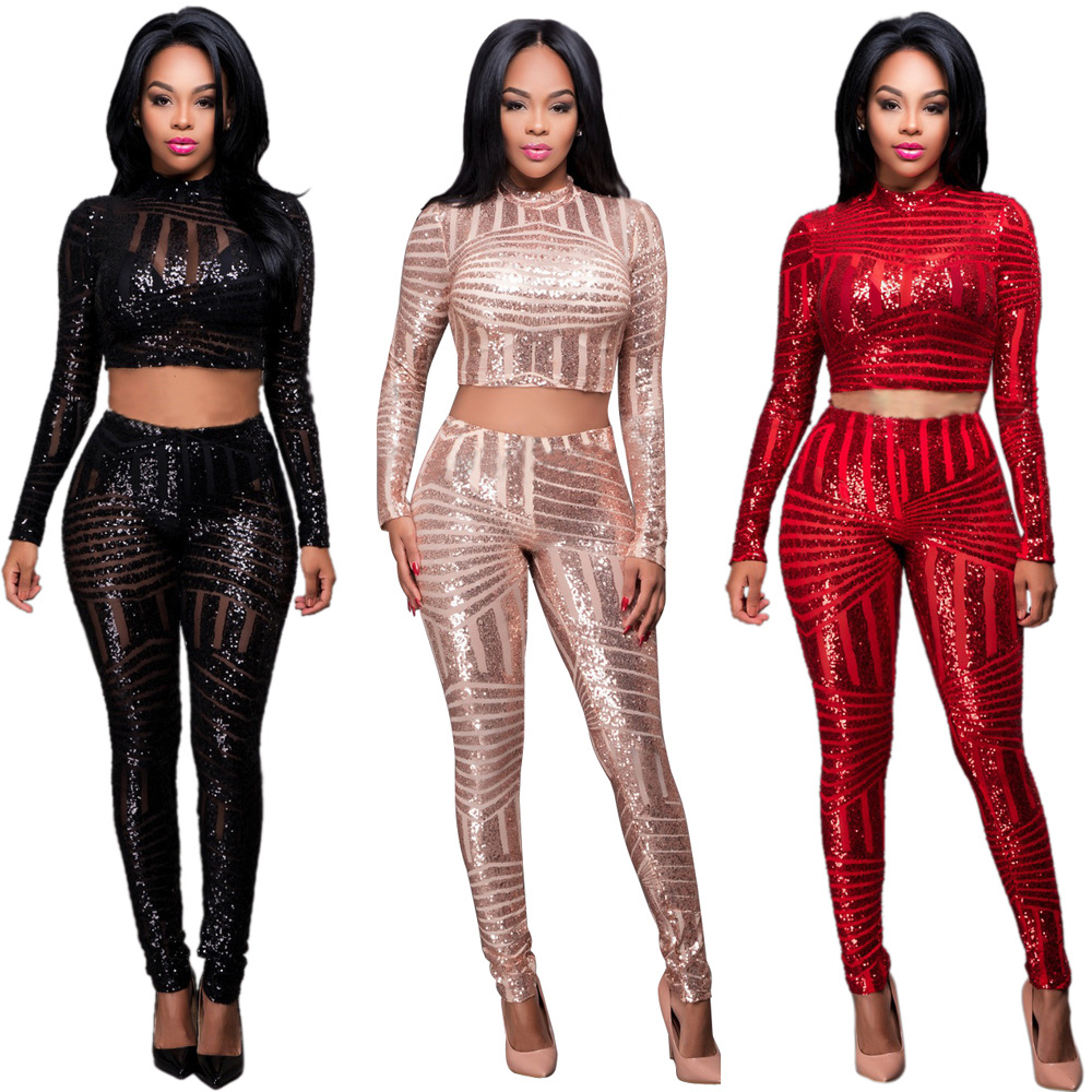 9c37dc8f9890 2019 Wholesale Set Women Sequin Jumpsuit Bodysuit Long Sleeve Crop ...