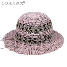 Wholesales New design Purple gray mixed color British stytle Children Straw Kids Hats