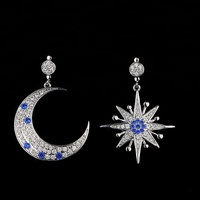 Xus Korean fashion wholesale stars moon asymmetric diamond ear jewelry female 925 sterling silver earring