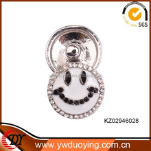Newest Fashion Jewelry Accessories Big Smile Rhinestone DIY Interchangeable Custom Metal Snap Button