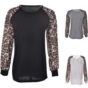 walson Fashion Women Leopard Spice Long Sleeve Loose Casual Tee T-Shirt Tops Blouse