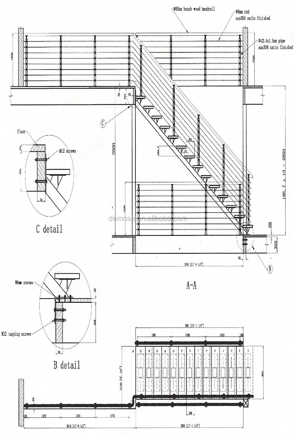 stylish stair handrail wire fence prices inox railing. Black Bedroom Furniture Sets. Home Design Ideas