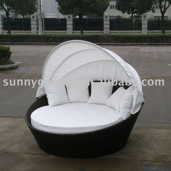 Rattan Round Lounge Bed Sg3009