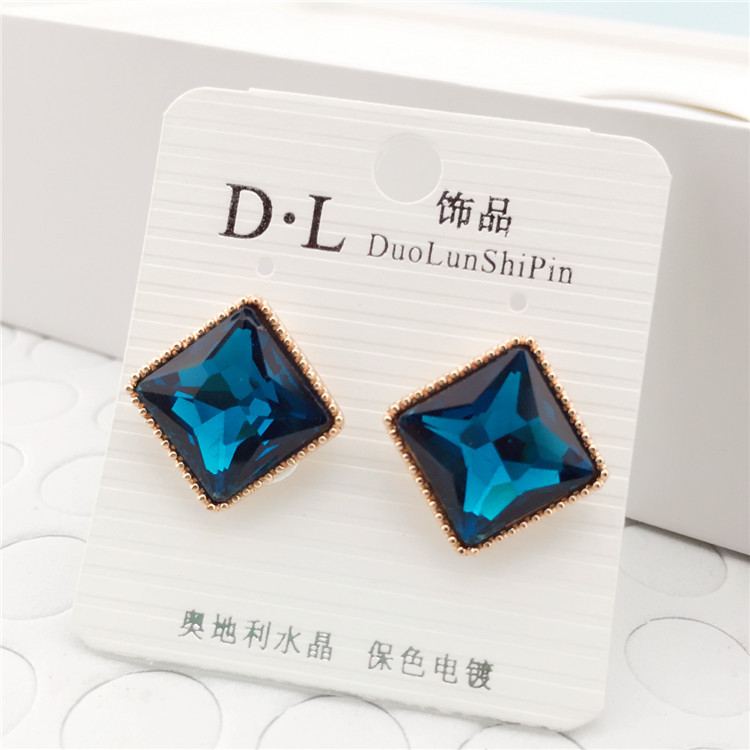 Winter New Korean Version of Crystal Box Hypoallergenic Earrings