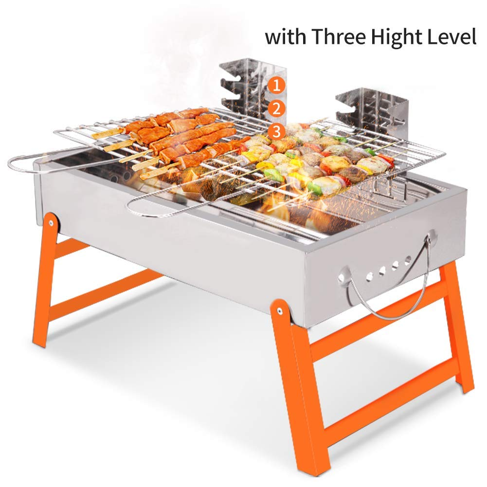 RioRand BBQ Grill Portable Charcoal Barbecue Folding Lightweight Barbeque Grills Tools for Outdoor Indoor Garden Backyard Cooking Camping Hiking Beach Picnics Tailgating Backpacking
