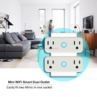 dual socket Wifi Smart Plug, Wi-Fi Enabled Mini Smart Socket Works with Amazon Alexa Google Home,power meter monitor