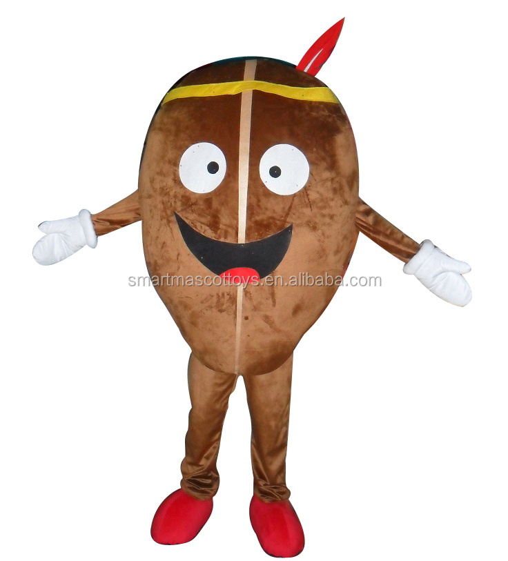 Custom made design coffee bean costume with good visual brown plush adult coffee bean mascot costume