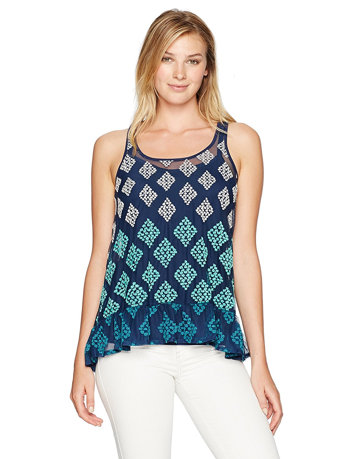 Democracy Women's Embroidered Peplum Tank
