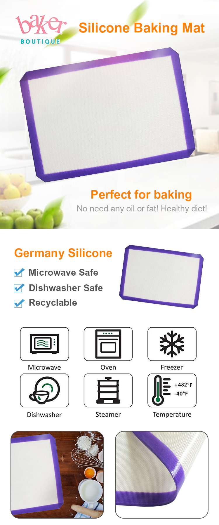 Dishwasher Safe Custom Best Silicone Baking Mats