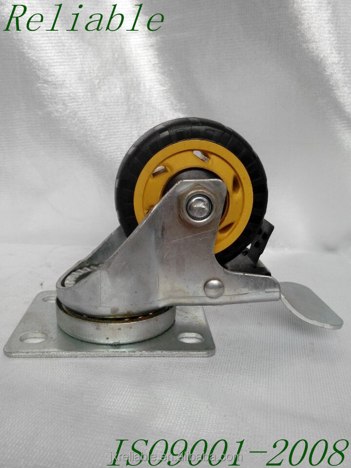 "3"" Small Swivel Plate Total Brake Plastic Locking Caster Wheel"
