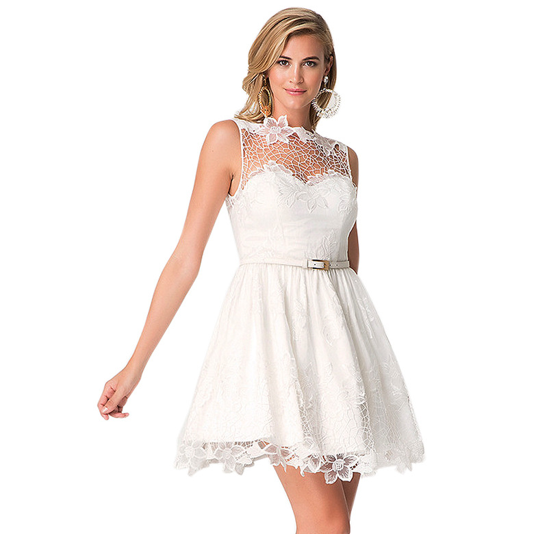 white solid color cheap <strong>lace</strong> cotton cover up short crochet <strong>skater</strong> tube <strong>dress</strong>