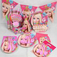 Princess pink girl's birthday party supplies tableware kit for 6 kids