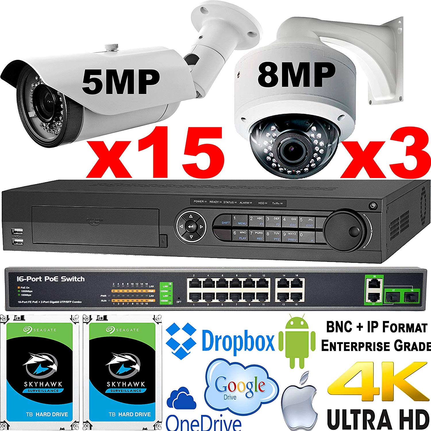 USG 18 Camera Security System : 1x 40 Channel BNC + IP Recorder DVR, 15x 5MP + 3x 8MP Ultra 4K IP Network Manual Vari-Focal Lens Cameras + 2x 6TB HD + 1x 18 Port PoE Network Switch : Business Grade