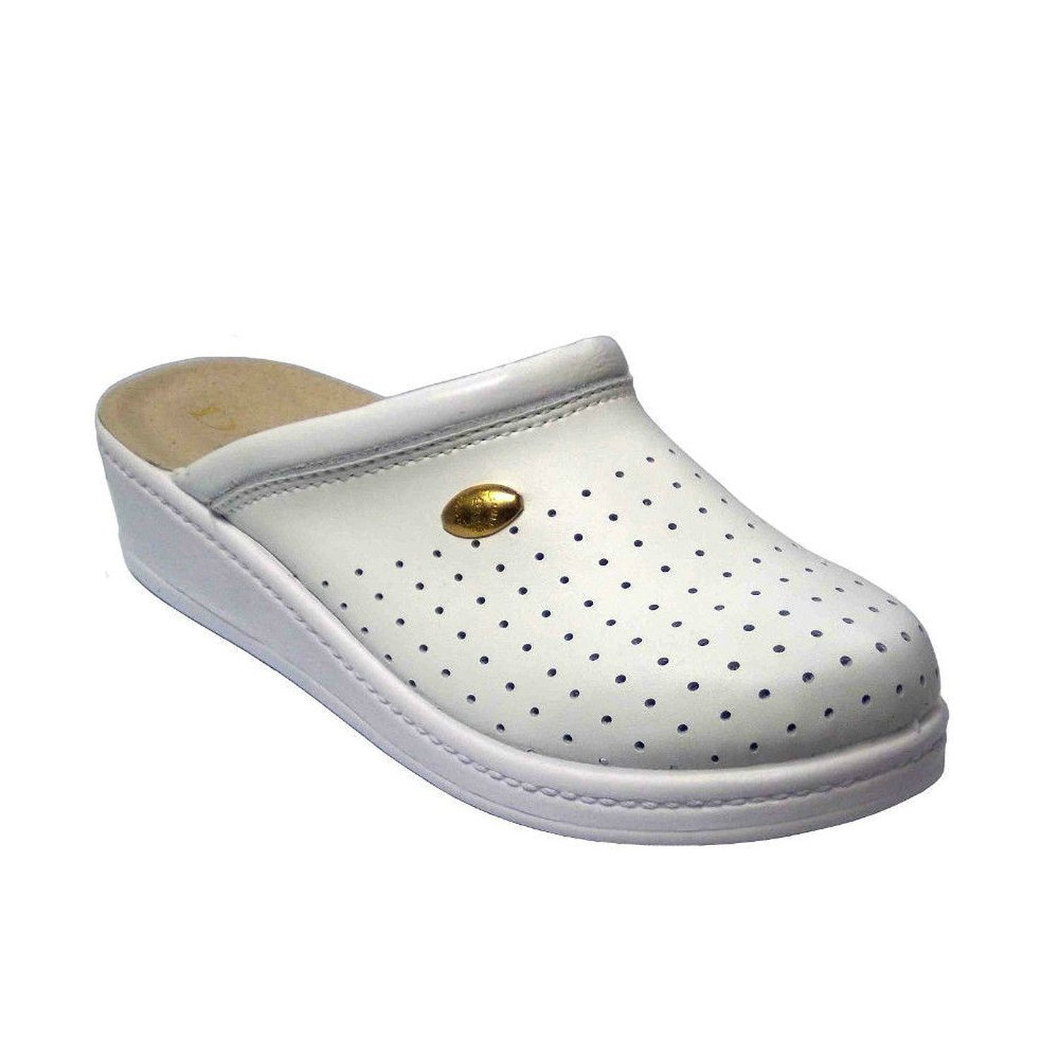 2bb0c939ef9994 Get Quotations · Damiani s by Italian Shoemakers Women s 300 White Leather  Slip On Perforated Clogs Shoes