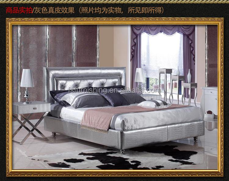 Letti Di Lusso In Pelle : Fo210 momoda argento di lusso king size letto in acciaio inox