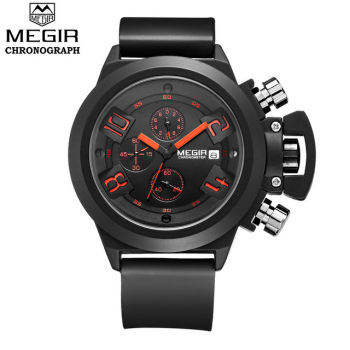 Megir mens Silicone  waterproof sport watches men male  Quartz wrist Watch relogio masculino
