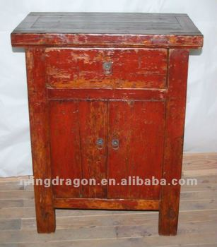 Meubles Antiques Chinois Pin Rouge Couleur Un Tiroir Armoire A Deux