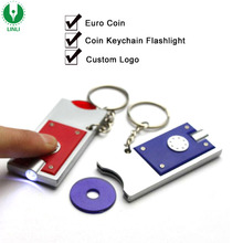 Promotional Plastic Led Trolley Euro Coin Keychain, Trolley Coin Keyring, Led Shopping Cart Keychain