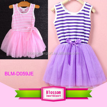 Sleeveless Baby Girls Cotton Pink Stripes Tutu Dress Multi-color Girls Dress Names With Pictures Summer Dress
