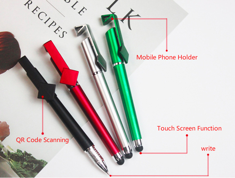OEM Pen Wholesale Creative Gift Multifunctional Custom Logo QR Code Advertising Touch Screen Pen Phone Holder Pen with Stand