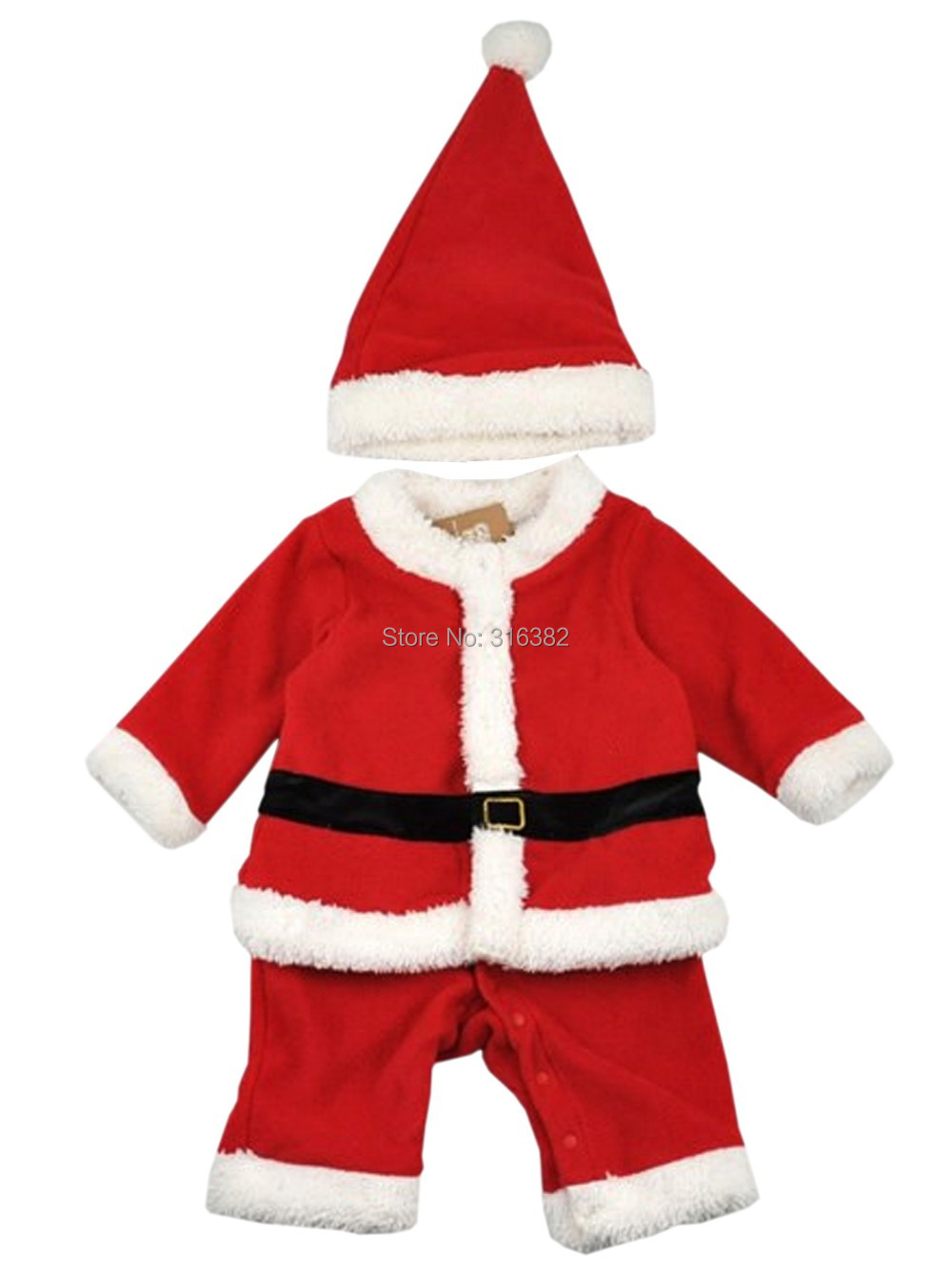 get quotations baby toddler boys santa with hat christmas outfit xmas costume set ft1145