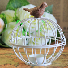 Top quality DIY metal bird cage candle holder in decoration