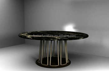 Marble Round Dining Table 1.8m 1.6m Diameter Stainless Steel Base Leg  Support New Modern