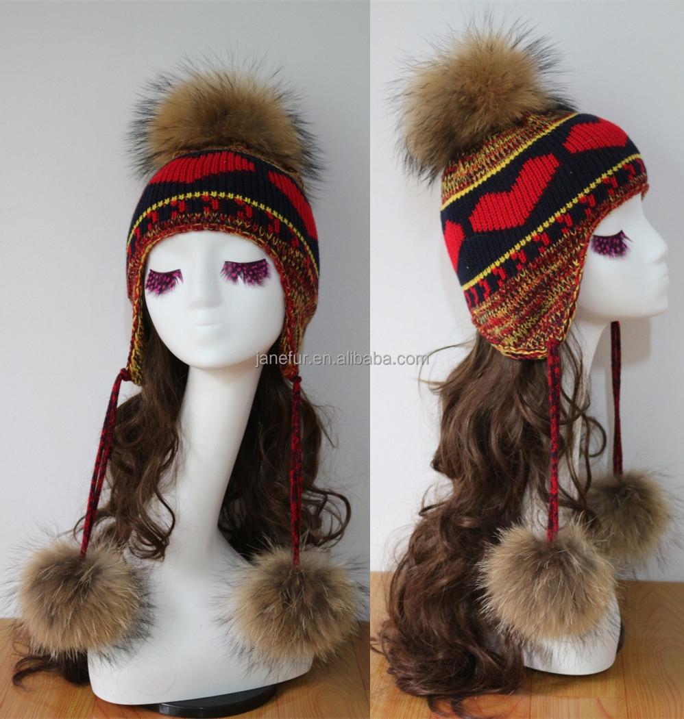 3d9158b5966312 Funny earflap fur ball hat/ cute earflap fur pom pom hat/ girls winter  earflap hat caps