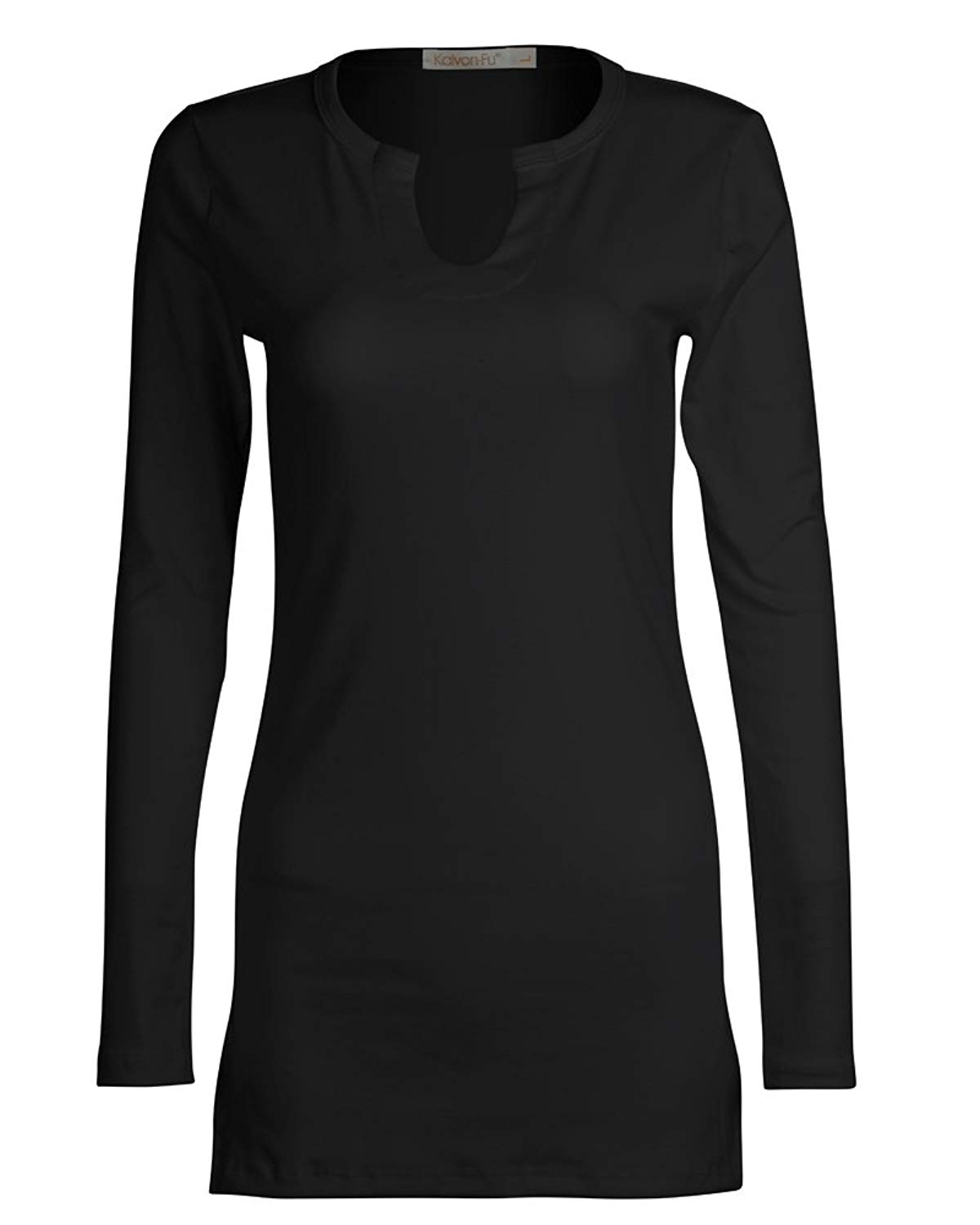 4ab9ba6066 Get Quotations · KalvonFu Women's Cotton Sexy Long Sleeve Fitted V-Neck  Henley T-Shirt