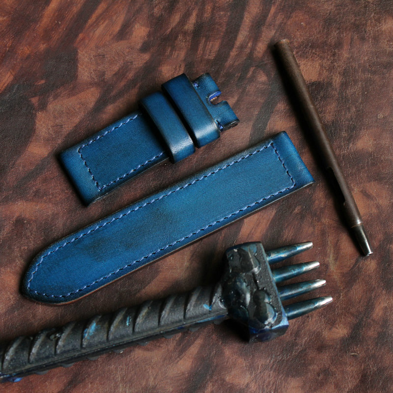 first layer leather watch band with pure hand brushed leather no hole watch strap