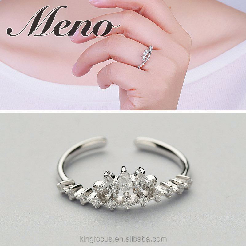 Meno S925 silver CZ setting small crown ring fashion elegant lady