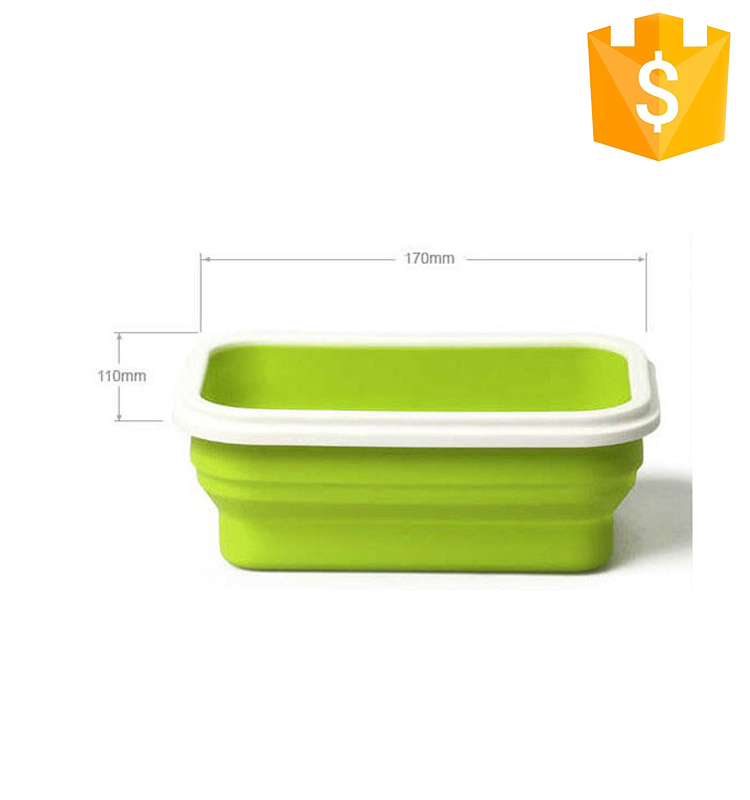 High Quality food grade Silicone Collapsible Kid Lunch Box Set