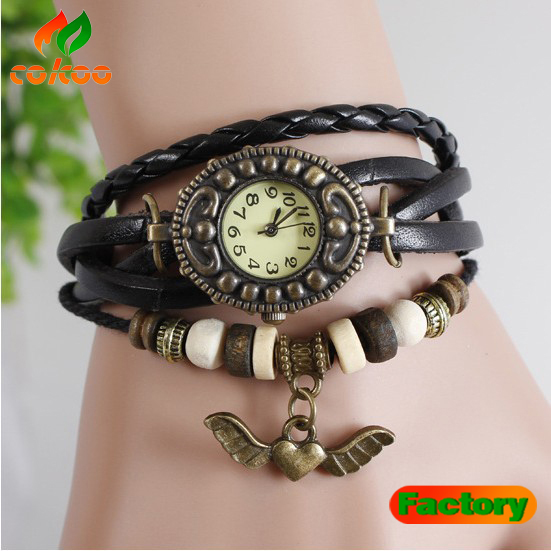 Winged heart Pendant Leather Strap Wooden beads decoration Retro Watches Casual watch bronze Women wristwatch bracelet Watch