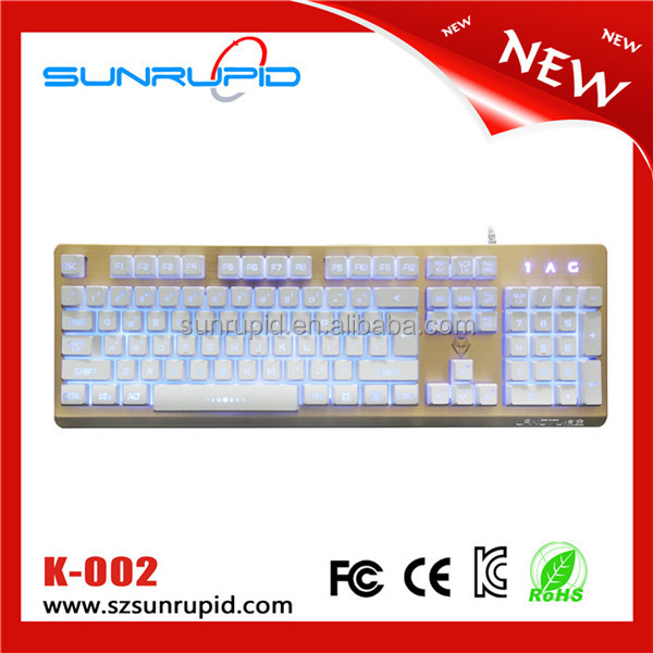 LED Waterproof 104 Keys RGB Back lit Gaming Keyboard with metal plate