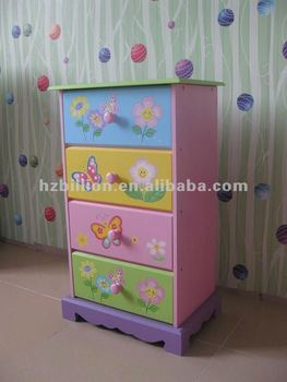 Wooden children bedroom 4-drawers storage cabinet