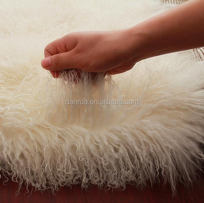 Long Hair Curly Lamb Fur Pelt Mongolian Plate Finished Skin Sheep Tibetan 60 120cm