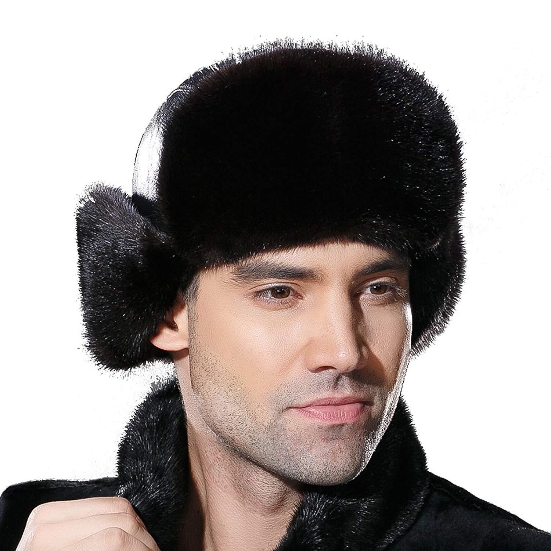 a4341bb5f99a4 Get Quotations · URSFUR Winter Leather Men Fur Hat Real Mink Fur Russian  Trapper Hats