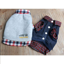 Dog Cat Jackets Grid Sweater Puppy Warm Coat T-Shirt Pet Clothes POLO Shirt Dog Apparel