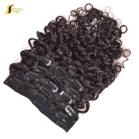 Factory direct quality amazing soft high density kinky curly clip in hair extensions for short hair, gray hair