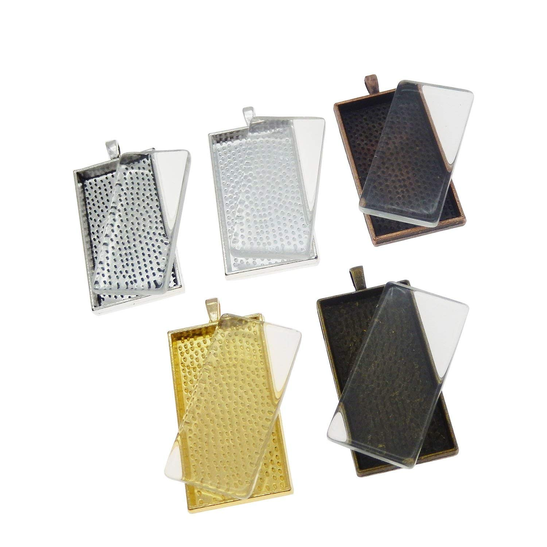 Julie Wang 10 Sets Mixed Color Rectangle Bezel Tray Setting w/Glass Tile Cabochon Pendant Kit