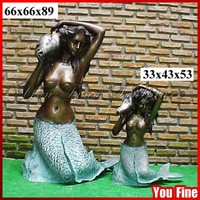 Different Sizes Bronze Statue of Mermaid for Garden Decoration