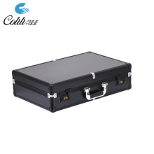 Black hard aluminum metal briefcase empty tool box with coded lock