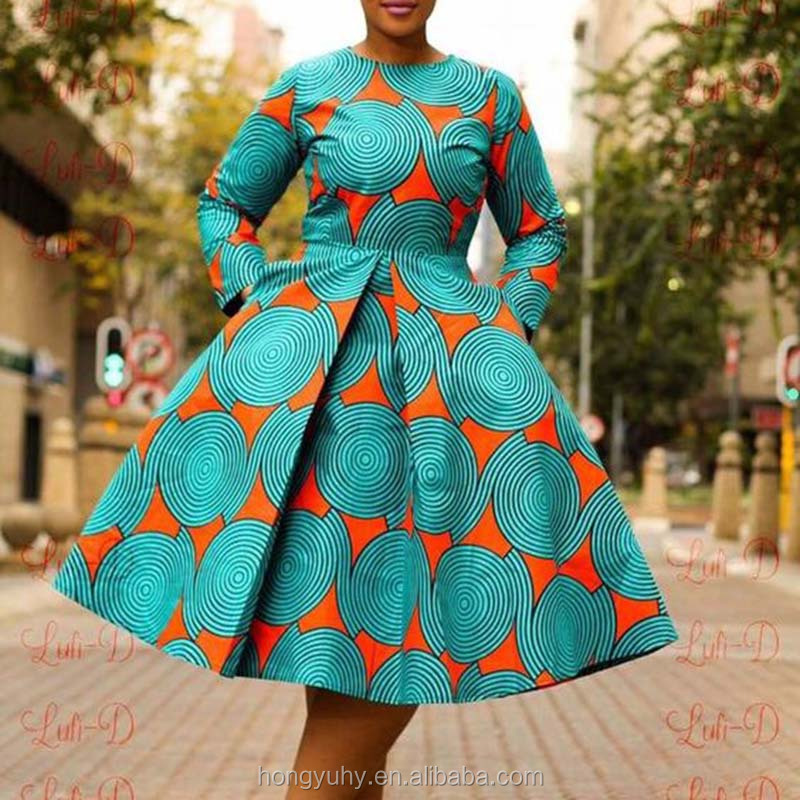 African traditional long sleeve dresses wax batik print flare hem custom Afirca ankara design dress