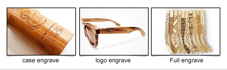 PC quadro com óculos de sol de madeira de bambu colorido lente UV400 CE FAD Promoção Óculos De Sol 2019