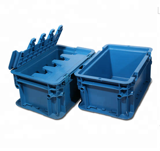 Straight wall plastic stacking containers for packaging and storage usage