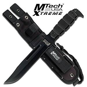 "MX-8079BK. M Tech Xtreme Tactical Fixed Blade Knife 12"" Overall Mtech Xtreme Fixed Blade Combat Tactical Bowie Knife Fixed Blade Knife 12"" Overall Length 6.5"" Black Stainless Steel Blade 5MM Thick Drop Point Blade with Blood Groove Black G10 Handle 14.75"" Thick Handle Includes Molle Sheath with"