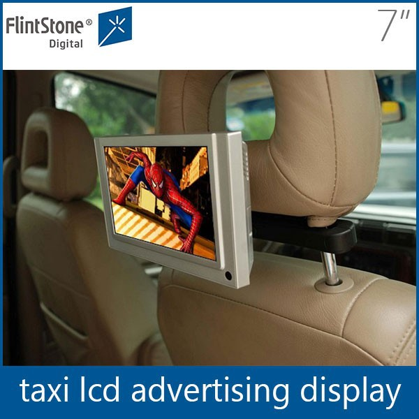 Flintstone 7 inch car stand dvd player taxi top led advertisement display vehicle mounted video monitor