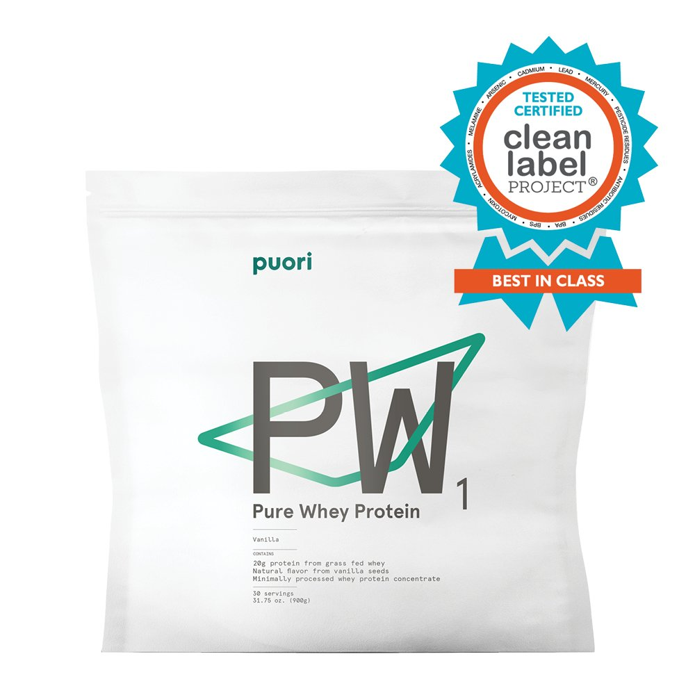 PW1 Pure Grass Fed Whey Protein Shake Powder - Vanilla 31.75 oz. | 30 Serving | Pure, Non OGM Workout Supplement | Natural Mass Gainer