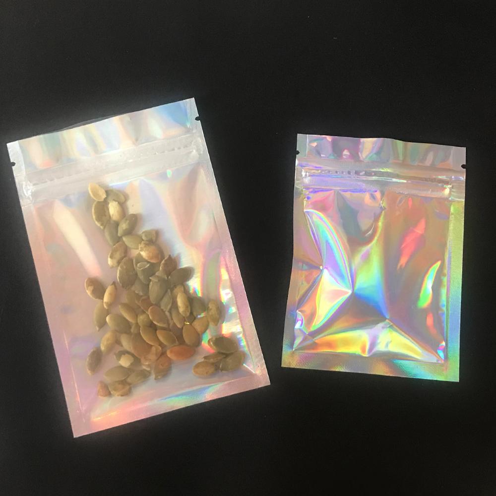 Ready to ship custom logo Mylar ziplock transparent holographic mylar bag